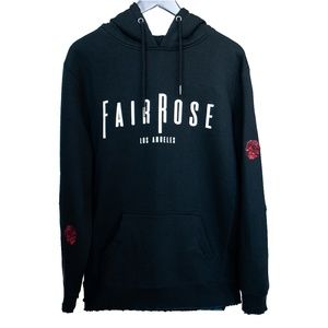 FairRose Embroidered Distressed Rose Patch Hoodie